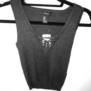 Grey Forever 21 Sweater Tank Top